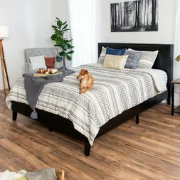 Modern Full Size Faux Leather Platform Bed Frame