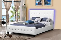 Modern Headboard Tufted Design Leather Look Upholstered Bed