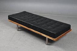 Second May Modern Leather Daybed/Mies Couch Upholstery Buff