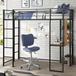 Modern Loft Bed Twin Size Metal Frame Fixed Ladders W/Desk a