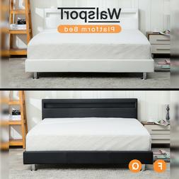 Modern Queen/ Full Size Bed Frame Leather Platform Slate Hea