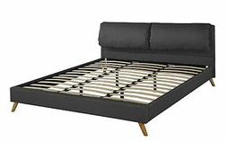 Modern Upholstered Platform Bed Frame Plush Headboard, Slats