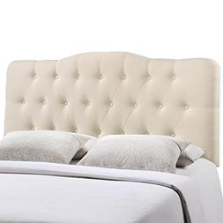 Modway Annabel Queen Upholstered Linen Headboard in Ivory...