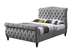 Furniture World Monet Upholstered Sleigh Bed with Tufted Hea