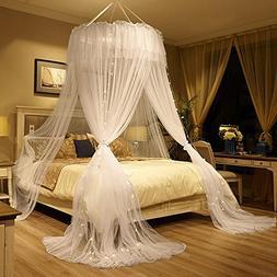 Mengersi Mosquito Netting Canopy Star Led Lights Twin Full Q