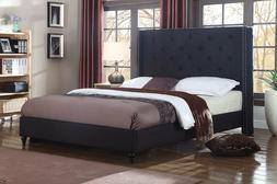 BLACK Fabric WingBack KING Size Platform Bed Frame & Slats M