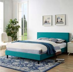 NEW Bright Teal Fabric Color Bed Frame Set Queen Size Contem