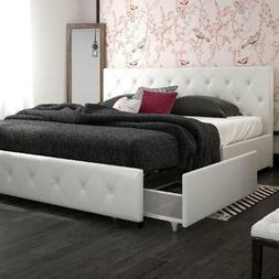 NEW Contemporary White King Size Storage Bed Frame W/4 Drawe