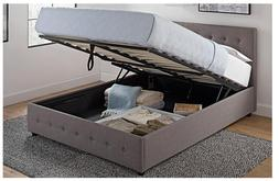 NEW Full Size Bed Frame With Shoe Storage Tufted Headboard L
