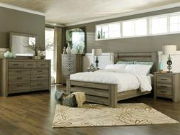 NEW Modern Cottage Waxed Gray 5 pieces Bedroom Set w. King P