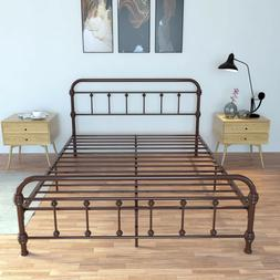 New Queen Size Iron Bed Frame Platform Headboard Bedroom Fur