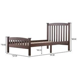 New Twin Size Wooden Platform Bed Frame Foundation w/Wood Sl