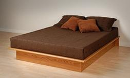Prepac OBQ-6080-K Queen Platform Bed - Oak