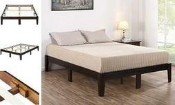 deluxe wood platform bed frame king dark