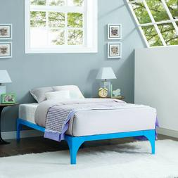 Modway Ollie Kids Twin Steel Platform Bed Frame Light Blue
