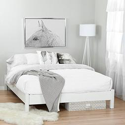 South Shore Step One Queen Platform Bed in Pure White