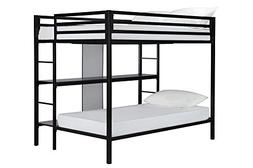 DHP Full-Over-Twin Bunk Bed Frame with Two Ladders and Stora