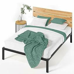 Paul Metal and Wood Platform Bed with Wood Slat Support, Ful