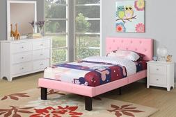 Pink Bed Frame Girls Twin Platform Teen Kids Headboard Footb