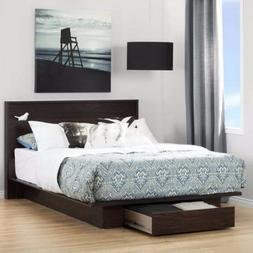 PLATFORM Bed Frame w/ Front Storage Drawer Shelf HEADBOARD S