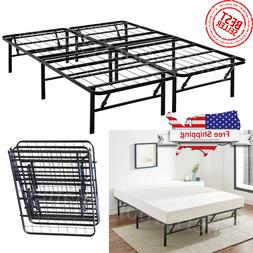 Platform Bed Frame Heavy Duty Folding Foundation Steel Base