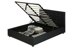 Platform Bed Frame Queen Headboard Linen Upholstered Tufted