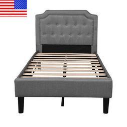 Platform Bed Frame Upholstered Linen Headboard With Wood Sla
