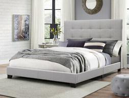 King Size Platform Bed Wood Frame Tufted Headboard Bedroom G