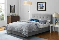 Platform Bed Frame With Headboard Modern Tufted Upholstered