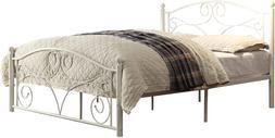 Platform Bed Full Size Headboard Footboard Metal Frame White