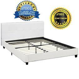 BestMassage Platform Bed Upholstered Headboard Tufted Leathe
