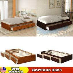 Platform Bed With Drawers,Twin Size Wooden Platform Bed Fram