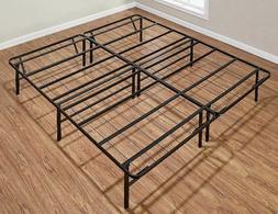 """Platform King Size Bed Frame for Mattress 14"""" Foldable Metal"""
