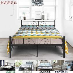 Platform Metal Bed Frame Foundation Headboard Furniture Bedr