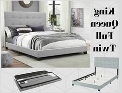 platform upholstered gray tufted fabric bed frame