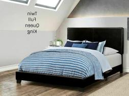 platform upholstered pu leather black bed frame