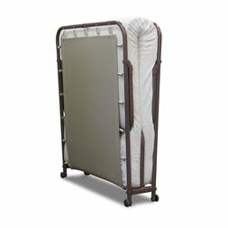 Portable Folding Rollaway Guest Metal Bed Frame & Mattress S