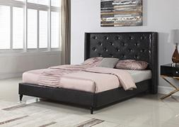 Home Life Premiere Classics Leather Black Tufted with Nails