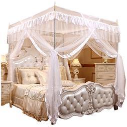 Mengersi Princess 4 Corner Post Bed Curtain Canopy Mosquito