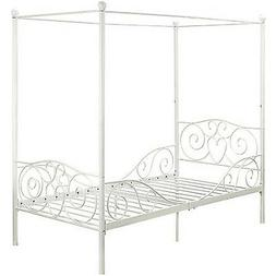 Princess Bed Frame Twin Canopy Furniture White Metal Girls B