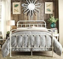 QUEEN Antique White Victorian Iron Metal Beds Bed Frame Fram