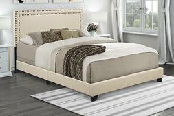 Queen Bed Frame Complete Set Rails Upholstered Headboard Bed