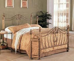 Queen Bed Frame Iron Platform Bed Bedding Gold Metal Antique