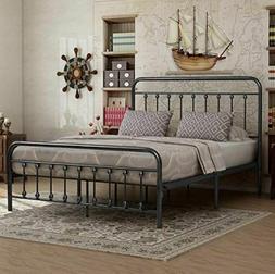 Queen Bed Frame Platform Victorian Vintage Metal Rustic Foun