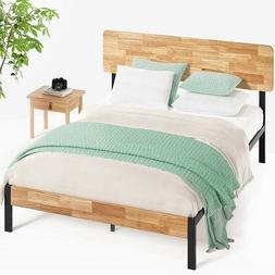 Queen Bed Frame Platform Wood Metal Scandinavian Vibe Rustic