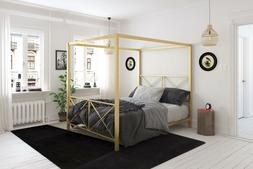 Queen Canopy Bed Frame Modern Metal Headboard Footboard Gold