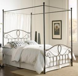 SKB Family Queen size Complete Metal Canopy Bed with Scroll-