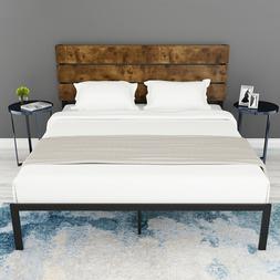 QUEEN FULL TWIN Platform Metal Bed Frame With Wood Headboard