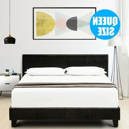 Queen Faux Leather Platform Bed Frame with Slats & Upholster