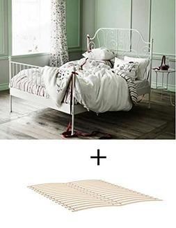Ikea Queen Size Metal Country Style Bed Frame with Slatted B